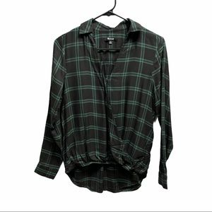 Madewell Wrap Front Shirt Palma Plaid black XS